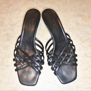 COLE HAAN Black Leather Strappy Kitten Heel 9.5